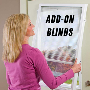 add-on blinds being installed by blond lady in pink