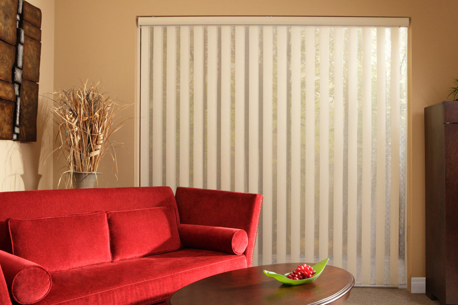 white vertical blinds on light brown walls