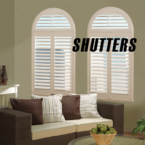 room with white composite shutters on light gray walls