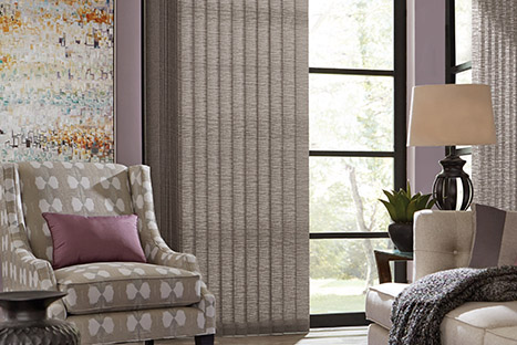 grey vertical blinds in grey decor room